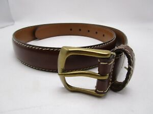 Mens Chaps Brown Leather Belt Size 32 Gold Buckle