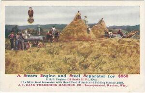 1908 Farm Steam Engine & Separator Machine Racine Wisconsin Advertising Postcard