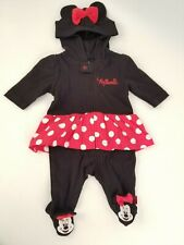 Disney Baby Minnie Mouse Zippered Footed Bodysuit Infant Size Newborn