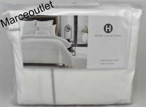 Hotel Collection Italian Percale FULL / QUEEN Duvet Cover White / Silver