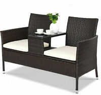 2 Seat Outdoor Patio Deck Rattan Cushioned Furniture Set Chair Tea Table Bench