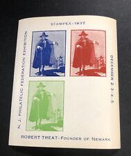 1 MNH 1937 STAMPEX NJ PHILATELIC FEDERATION EXHIBITION ROBERT TREAT ERROR 1691B