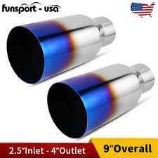 "2x Burnt Blue Exhaust Tip Straight Cut 2.5""Inlet 4""Outlet 9""Long Stainless Steel"