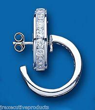 Orecchini a cerchio stile creolo argento zirconi 18mm