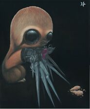 Sugar Fueled Sloth Edward Scissorhands Lowbrow Creepy Cute Big Eye Art Print
