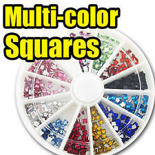 Acrylic Square Nail Art Decal Rhinestone bead FREE GLUE