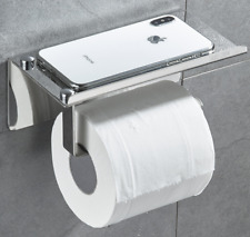 304 Stianless Steel Toilet Roll Paper Holder With Phone Shelf Chrome Wall Mount