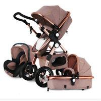 3 in 1 Baby Stroller High View Pram Foldable Baby Pushchair Bassinet&Car Seat