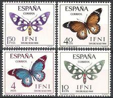 Colonias españolas Ifni 1966 Día del Sello Fauna Mariposas Polillas 221 - 224 estampillada sin montar o nunca montada Fino