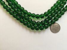 "14"" Strand ( 42 pcs) Beautiful Deep Grass Green 8mm Round Glass Beads"