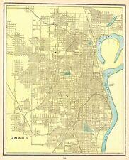 1901 Antique OMAHA Map Vintage Omaha Nebraska City Map Gallery Wall Art 5102