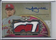 SHELBY MILLER 2013 TRIPLE THREADS CARDINALS LOGO PATCH AUTO RC #D TRUE 1/1