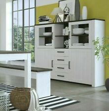 Provence Wide Glazed Chocolate/Whitewash Kitchen/Lounge Storage Display Cabinet