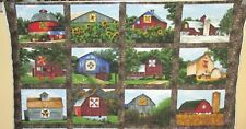 """1 Beautiful """"Quilt Trail"""" Cotton Quilting Sewing Fabric Panel"""