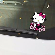 Hello Kitty Cat With Bows Cute Watching Bumper Windows Wall Decals Car Stickers