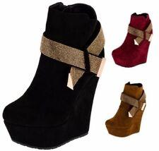 Stivali e stivaletti da donna tessile zeppa con tacco alto (8-11 cm)