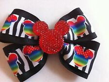 "Girls Hair Bow 4"" Wide Multi Minnie on Zebra Red Minnie Flatback Alligator Clip"