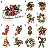 New Crystal Christmas Tree Deer Snowman Bell Brooch Pin Santa Claus Xmas Jewelry