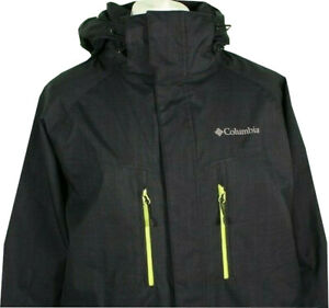 Columbia Black Ski Jacket Large Hooded Pockets Polyester Fleece Lined Winter