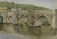 20th Century Watercolour - Arch Bridge with River