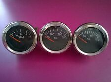 El Gauges 52mm (3pc) - Oil Pressure Gauge +  Oil Temp Gauge +  Volt Gauge-Chrome