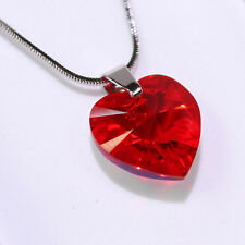 Light Red Heart Swarovski Elements Necklace Crystal Pendant Women Gift Ladies !