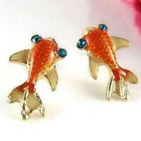 Women Fashion Betsey Swimming Gold Fish Ear Stud Earring Jewelry for Gift