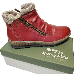 Spring Step Burgundy Red Sweater Booties Faux Vegan Leather Comfort Boots