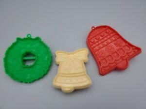 Vintage Hallmark & Hutzler Plastic Christmas Cookie Cutters Lot Of 3