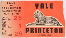 November 12 1949 Yale vs Princeton College Football Ticket Stub Palmer Stadium