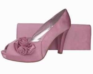 Ladies Wedding Party Heel Shoe Evening Shoes Peep Toe Pale Pink Satin NEW