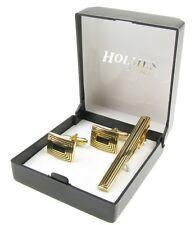 CUFF LINKS  MENS GOLD SILVER TIE CLIP PIN SHIRT WEDDING GIFT BOX NEW UK CTG57