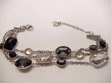"Signed Swarovski Bracelet Pamela Triple Strand Faceted Gray 5017066 8.25"" B85"