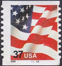 US - 2002 - 37 Cents United States Flag Coil #3632 Plate # Single Plate # 1111A