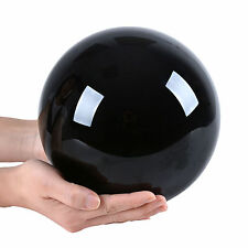 """LONGWIN 200mm 7.87"""" D Black Crystal Ball Sphere Solid Color Rotable Wood Stand"""