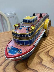Vintage 1950's Japan Tin Litho Masudaya Show Boat Battery Operated Toy