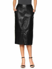 MELISSA McCARTHY Faux Leather Front Ponte Back Skirt Pockets Zipper BLACK S