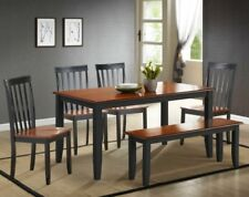 6 Pc Black Cherry Dining Set Kitchen Table Chairs Bench Wood Furniture Sets NEW
