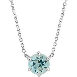 14k White Gold Aquamarine Solitaire 18 Inch Necklace