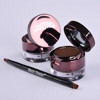 6pcs Pro Eyebrow Powder & Eyeliner-Gel Set wasserdicht mit Pinsel & Spieg PPJJ