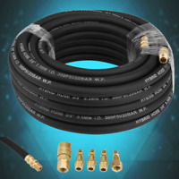 50ft Rubber Air Pneumatic Hose Accessory With 5-Piece Compressor Kit Tool