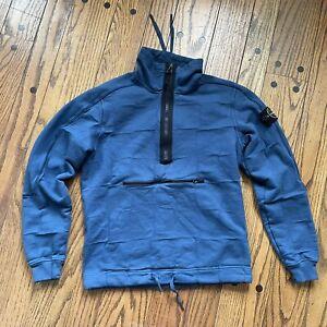 STONE ISLAND house check pullover half zip sweatshirt sz small blue shirt jacket