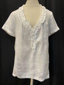 Talbots Top/Pullover Women Sz.12-Linen-White-Sh Sleeve-V Neck/Ruffles