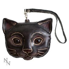 Nemesis Now in pelle Kitty Cat realizzato a mano portamonete Pagan Strega Biker Goth