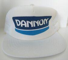 Vintage Dannon Yogurt White Mesh Snapback Trucker Hat Hendrick Made in USA