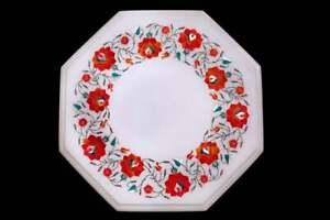 "12 "" Weißer Marmor Achteckige Table Top Karneol Blume Inlay Marquetry Dekors"