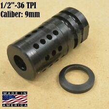 1/2x36 FC-1 Muzzle Brake  9mm +Crush Washer Compact short 1.75