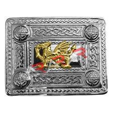 AAR Kilt Belt Buckle Celtic Design Chrome Finish with Welsh Dragon Badge Gold