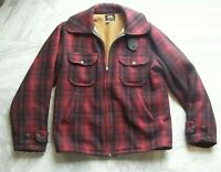 1950's Vintage Woolrich Red Mackinaw Buffalo Plaid Hunting Jacket Coat Size 32