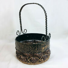 "New ListingMetal & Wicker Basket 9"" Round Weaved Braided Base 13"" Tall Dragonfly Design"
